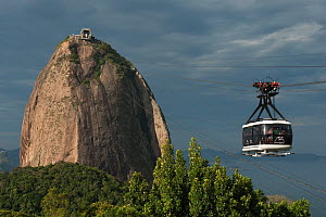 Cable car to the summit of Sugar Loaf mountain from Rio de Janeiro, Brazil, July 2010 - Pete Oxford