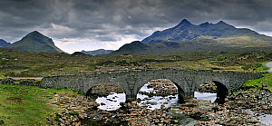 The Old Sligachan Bridge with view over Sgurr nan Gillean and the Red and Black Cuillins, Isle of Skye, Inner Hebrides, Scotland, UK, May 2010  -  Philippe Clement