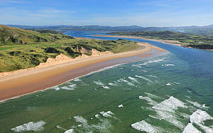 Aerial view of Black Strand beach, Malin Head, looking towards Trawbreaga Bay, Malin Head, County Donegal, Republic of Ireland, September 2009  -  Robert Thompson