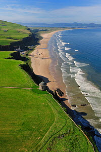Aerial view of the Mussenden Temple and beach, Castlerock, north coast, County Antrim, Northern Ireland, UK, September 2009  -  Robert Thompson
