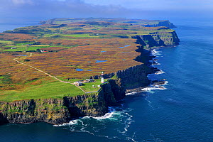 Aerial view of the East Lighthouse, Rathlin Island, County Antrim, Northern Ireland, UK, September 2009  -  Robert Thompson
