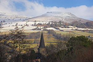 "The Church Tower of Crickhowell with the snow covered ""Table Mountain"" beyond. Brecon Beacons National Park, Powys, Wales, January 2010.  -  Peter Lewis"