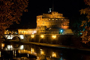 Castel Sant' Angelo at night from the Tiber riverside promenade, Rome, Italy, December 2010 - Angelo Gandolfi