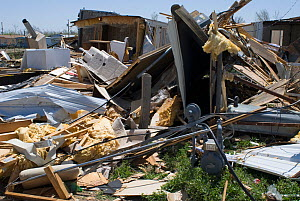 Mobile homes destroyed by a tornado in Cactus, Texas, USA, April 2007  -  Visuals Unlimited