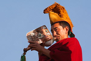 Buddhist monk blowing the conch, Thikse Gompa / Monastery Ladakh, India, June 2010 - Bernard Castelein