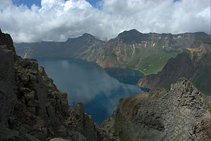 """Heaven Lake on border between China and North Korea, Mount Changbai National Park, North-east China. Picture taken during filming for BBC """"Wild China"""" TV Series, July 2006.  -  Barrie Britton"""