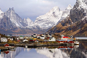 Village of Reine with mountains in the background, Moskenes, Lofoten, Nordland, Norway, November 2005 - Orsolya Haarberg