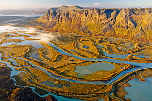 Aerial view of Laitaure Delta and Rapa river, Lappland, Sweden, September 2006. - Orsolya Haarberg
