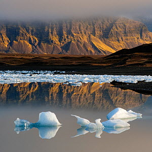 Glacial ice floating in the Jokulsarlon glacier lagoon. Iceland, September 2010 - Orsolya Haarberg