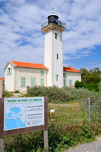 Gacholle lighthouse and reserve map at the heart of the Camargue National Reserve, France, May 2010.  -  Nick Upton