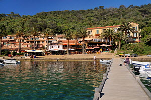 Port Cros Harbour front and jetty, Port Cros Island National Park, Hyeres archipelago, France, May 2010.  -  Nick Upton