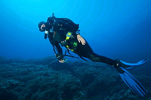 Rebreather diver swimming along the sea bed. Capraia, Tuscany, Italy, August. Model released.  -  Roberto Rinaldi