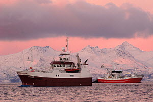 Two fishing boats off the coast, Tysfjord, Norway, November 2004  -  Mark Carwardine