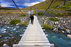 Hiker, Eulia Vicens, crossing a wooden bridge over Ascensio river on the W Trek, Torres del Paine National Park, Patagonia, Chile  -  Oriol Alamany
