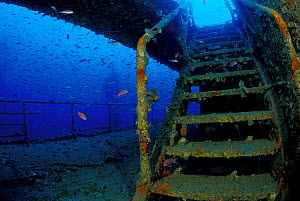 """Stairs of wrecked crude oil super-tanker """"Amoco Milford Haven"""", which sank on April 14th, 1991 after three days of fire. Genoa, Italy, 2007. - Roberto Rinaldi"""
