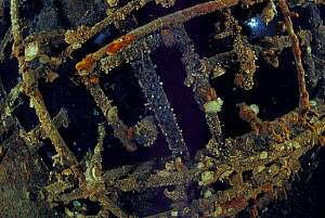 """The ceiling of wrecked crude oil super-tanker """"Amoco Milford Haven"""", on which it is still possible to see crude oil. The tanker sank on April 14th, 1991 after three days of fire. Genoa, Italy, 2007.  -  Roberto Rinaldi"""