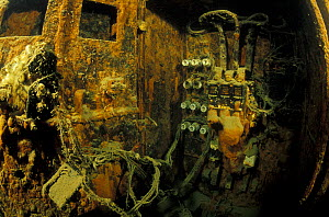 "Electricity system in engine room of wrecked crude oil super-tanker ""Amoco Milford Haven"", which sank on April 14th, 1991 after three days of fire. Genoa, Italy, 2002. - Roberto Rinaldi"