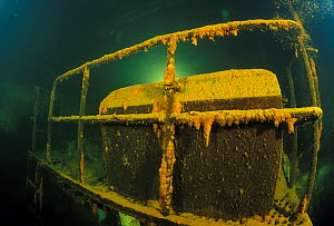 """Engine room of wrecked crude oil super-tanker """"Amoco Milford Haven"""", which sank on April 14th, 1991 after three days of fire. Genoa, Italy, 2002.  -  Roberto Rinaldi"""