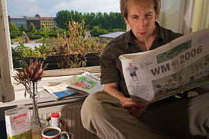 Photographer Florian Mollers having breakfast beside a female Mallard (Anas platyrhynchos) nesting in window box of a 4th floor flat, Berlin, Germany, June. Model released  -  Florian Möllers