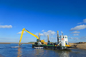 Dredging in tidal channel, Wells-next-the-sea Norfolk, UK, November 2010  -  Gary K. Smith