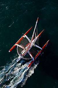"Aerial view of maxi trimaran ""Sodebo"", skippered by Thomas Coville, departing on singlehanded circumnavigation record attempt. Brest, France, January 2011. All non-editorial uses must be cleared indiv...  -  Benoit Stichelbaut"
