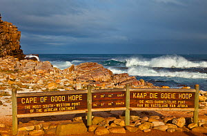 Sign marking most south-western part of the African continent. Cape of Good Hope, Cape Peninsular, South Africa, July 2010  -  Juan Carlos Munoz