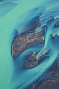 River patterns from melting glacier. Olfusa river, Southwest Iceland, July 2009  -  Juan Carlos Munoz