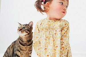 Portrait of young girl with short-haired tabby cat  -  Aflo