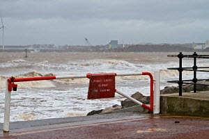 Lifeboat launch slipway during a windy high tide at New Brighton. Merseyside, England, February 2011. - Norma Brazendale
