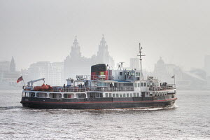 """Mersey ferry """"Snowdrop"""" passing the Liver Building, River Mersey, Liverpool, England, March 2011. - Norma Brazendale"""