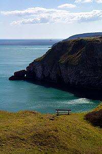 Empty bench and view south from Berry Head National Nature Reserve, Brixham, England, April 2010. - Toby Roxburgh