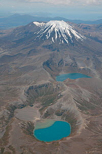 Aerial view of Ngauruhoe Cone of Tongariro Volcano and Tama Lakes, New Zealand.  -  Visuals Unlimited