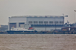 "Caledonian McBrayne ferry ""Hebrides"" newly arrived at Cammell Laird shipbuilders, River Mersey, Birkenhead, England, March 2011. - Graham Brazendale"
