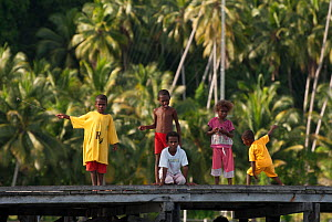 Young West Papuan kids fishing from the their village jetty. Raja Ampat, West Papua, Indonesia, February 2010  -  Jurgen Freund