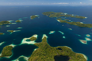 Aerial view of Raja Ampat's islands, sand cays and lagoons. West Papua, Indonesia, February 2010  -  Jurgen Freund