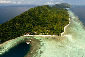 Aerial of Kri Island, Kri Eco Resort and Sorido Bay Resort. Raja Ampat, West Papua, Indonesia, February 2010  -  Jurgen Freund