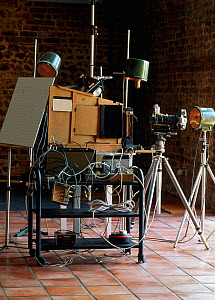 Equipment used by Stephen Dalton for insect flight photography, showing flight tunnel, boxes of electronics and camera. This set-up was designed in the early 1970s and is still used today. UK.  -  Stephen Dalton