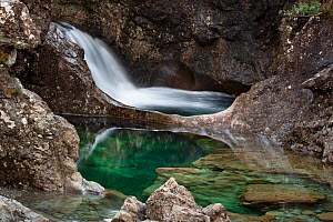 The Fairy Pools, on the Allt Coir' a' Mhadaidh river running down from the Cullin Hills, Glen Brittle, Isle of Skye, Inner Hebrides, Scotland, UK, February 2010. - Alex Hyde