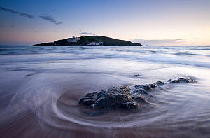 Burgh Island in the late evening light with seaweed washed onto the shore in the foreground. Bigbury-on-Sea, South Devon, UK, September 2010  -  Ross Hoddinott