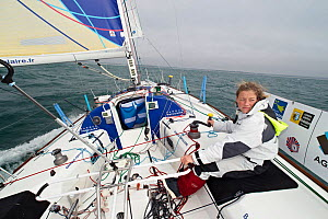 "Skipper Jeanne Gregoire on board monohull ""Banque Populaire"" in training for Transat Benodet-Martinique at the start of Figaro Season. Port la Foret, Brittany, France, April 2011. All non-editorial us...  -  Benoit Stichelbaut"