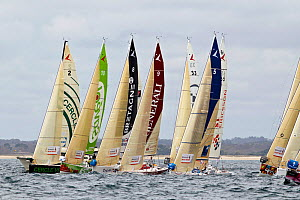 Fleet racing inshore in a prologue to Transat Benodet-Martinique at the start of Figaro Season. Bay of Benodet, Brittany, France, April 2011.  -  Benoit Stichelbaut