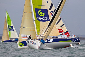 Yachts racing in a prologue to Transat Benodet-Martinique at the start of Figaro Season. Bay of Benodet, Brittany, France, April 2011.  -  Benoit Stichelbaut