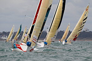 Fleet racing in a prologue to Transat Benodet-Martinique at the start of Figaro Season. Bay of Benodet, Brittany, France, April 2011.  -  Benoit Stichelbaut