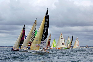 Fleet racing inshore during a prologue to Transat Benodet-Martinique at the start of Figaro Season. Bay of Benodet, Brittany, France, April 2011. - Benoit Stichelbaut