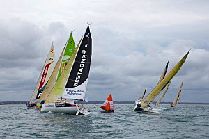 Fleet rounding mark during a prologue to Transat Benodet-Martinique at the start of Figaro Season. Bay of Benodet, Brittany, France, April 2011.  -  Benoit Stichelbaut