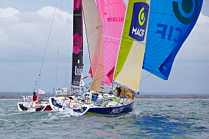 """Macif 2009"" and ""Luisina"" racing in a prologue to Transat Benodet-Martinique at the start of Figaro Season. Bay of Benodet, Brittany, France, April 2011.  -  Benoit Stichelbaut"