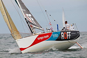 """Roff"" during a race in a prologue to Transat Benodet-Martinique at the start of Figaro Season. Bay of Benodet, Brittany, France, April 2011.  -  Benoit Stichelbaut"