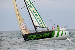 """Cercle Vert"" during a race in a prologue to Transat Benodet-Martinique at the start of Figaro Season. Bay of Benodet, Brittany, France, April 2011.  -  Benoit Stichelbaut"