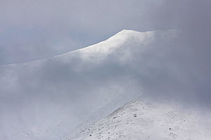 First snow on a peak seen through cloud in the Western Tatras. Slovakia, September 2008.  -  Bruno D'Amicis