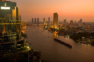 Bangkok City Centre and River Chao Phraya at dusk, Thailand  -  Ernie Janes